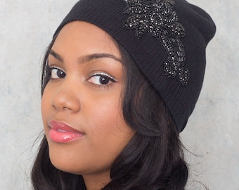 Knit Beanie Black Cotton Hat With Gunmetal And Black Rhinestone Applique