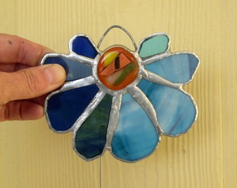 Skipper  - Lovely Stained Glass Flower Suncatcher in Beautiful Blue and Turquoise