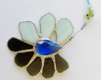 Frog Pond  - Stained Glass Crystal Flower Suncatcher in Gorgeous Blue and Pretty Green