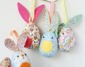 Pair of Liberty Fabric Hanging Bunny Decorations