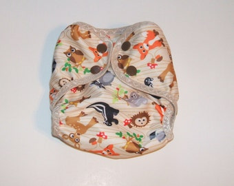 Newborn Cloth Diaper Cover,  Nappy Wrap with Snaps, Woodsy Animal