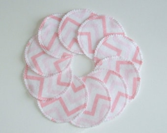 Make-up Remover Pads Washable Reusable Cotton Rounds Pink Chevron