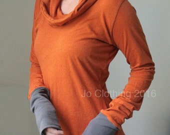 hooded top, extra long sleeves, Heather Burnt Orange with Cement cuffs READY TO SHIP Size Small, Sale Price