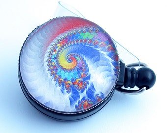 Psychedelic Swirls Whipped Cream Rainbow Black Magnetic Retractable Badge Reel - 318