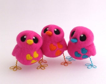 Needle Felted Pink Bird Designs Your Own