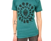 Pinecone tshirt unisex teal shirt nature tree outdoor illustration screenprinted tee