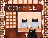 The Coffee Shop - Cat Folk Art Print  8x10, 11x14
