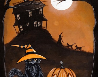 Welcoming Committee - Halloween Cat Folk Art Print 5x7, 8x10, 11x14, 16x20