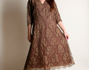Vintage 1950s Dress - Chocolate Brown Lace Evening Dress - XL