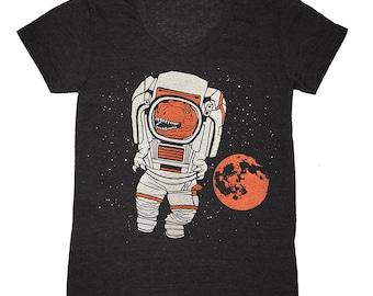 Womens Trex Astronaut T-shirt - Girls Tee Shirt Funny Space NASA Spaceman Rocket Moon Mars Planets Astronomy SciFi Science Fiction Tshirt