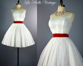 Peppermint Dream ~ Vintage 1950s Ruched Vixen White & Red Chiffon Party Dress ~ Full Mini Skirt