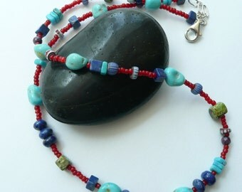 Artisan Handcrafted OOAK Rare White Hearts Sleeping Beauty and Kingman Turquoise Lapis Rare Gaspetite Vintage African Trade Beads Necklace