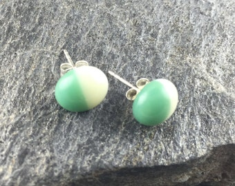 Fused Glass Stud Earrings in Mineral Green & Ivory. Simple Earrings. Modern Fused Glass Jewelry. Tiny Studs. Trendy Jewelry. Handmade.