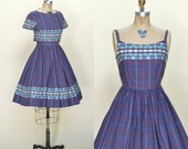 Vintage Purple Day Dress --- 1960s Full Skirt Plaid Dress