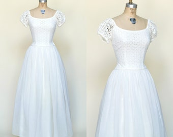1950s Ceil Chapman Wedding Dress --- Vintage Floor Length Gown with Sleeves
