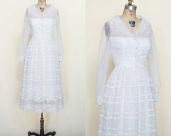 1960s White Dress --- Vintage Jack Bryan Dress