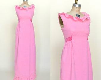 1960s Maxi Dress --- Vintage Pink Dress
