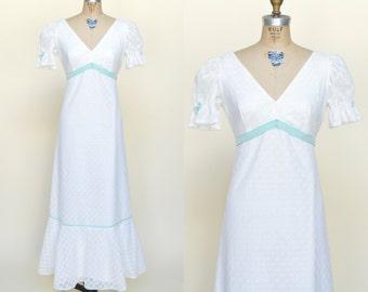 1960s Maxi Dress --- Vintage White Lace Dress