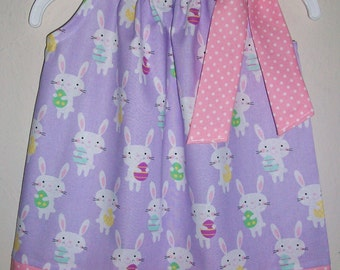 12m Pillowcase Dress with Bunny Easter Bunny Dress Spring Dress with Rabbits Purple and Pink baby dress  Easter Dress LAST One Ready to Ship