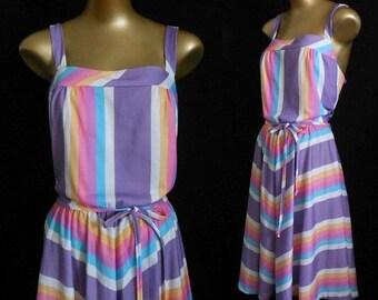 JULY SALE Vintage 50s Style Dress, 1970s Full Skirted Halter Sundress, Purple Stripes, Back Stretch Panel, Size S to M