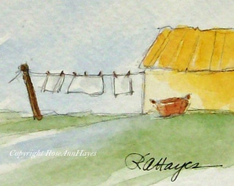 Laundry Day Miniature Original Watercolor Painting Wash Day Laundry Room Art Housewarming Gift