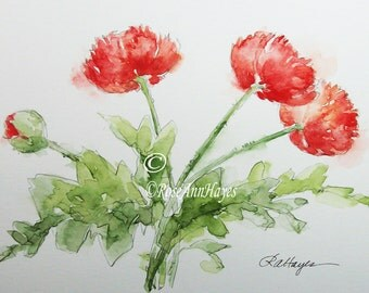 Original Watercolor Painting of Red Poppies Flowers Floral Wildflowers Bouquet
