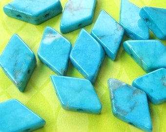 8 Turquoise Howlite Beads - Diamond Shape - 2 Hole - Double Drilled - Turquoise Blue - Two Strand - Gemstone Spacer Beads - DIY Jewelry