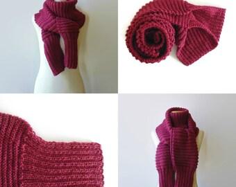 Burgundy Knit Scarf, Wrap Scarf, Cute Scarf, Mens Scarf, Womens Scarves, Hand Knit Scarf, Long Scarf, Wool Scarf, Winter Scarf, Unisex Scarf