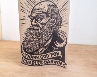 Travel Journal, Notebook, Charles Darwin Large Travel Journal, Evolution, Thank God for Charles Darwin Notebook