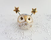 Ceramic Fairy Owl Sculpture with Gold Stars