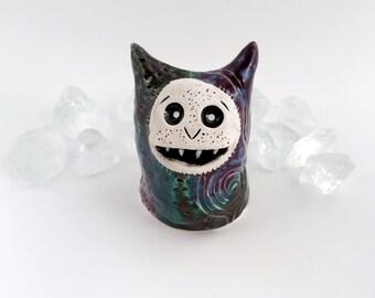Ceramic Imp, Handmade Monster Figurine, Purple, Blue and Green