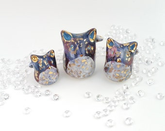 Galaxy Fox Ceramic Family with Gold Lustre