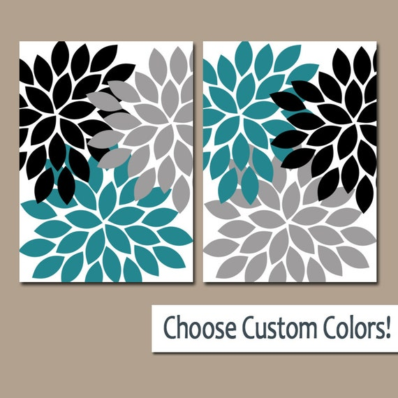 Teal black wall art canvas or prints teal gray bathroom decor for Black and teal bathroom ideas