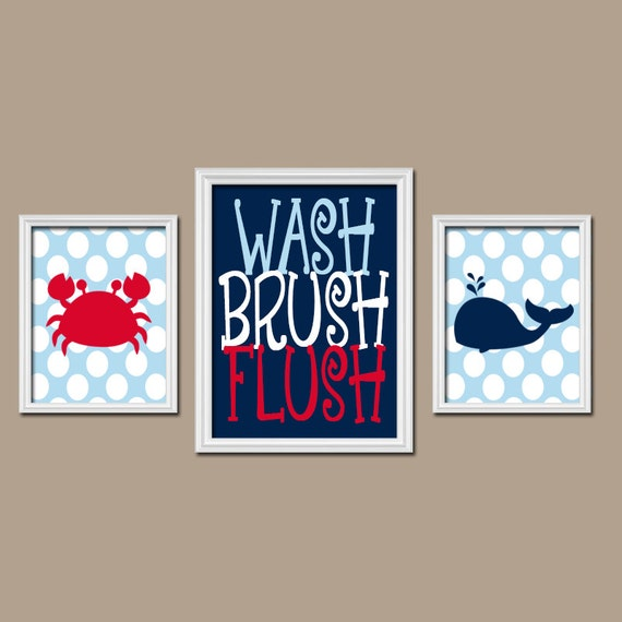 Nautical Bathroom Wall Decor : Nautical bathroom wall art kid decor beach by