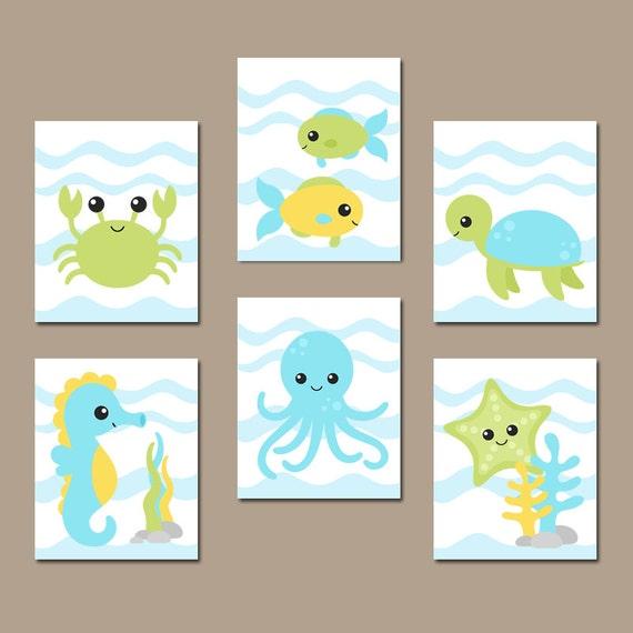 Ocean Wall Decor For Nursery : Boy ocean nursery wall art nautical theme bathroom child kid