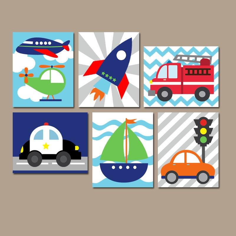 Transportation wall art canvas or prints boy nursery artwork for Boys wall art