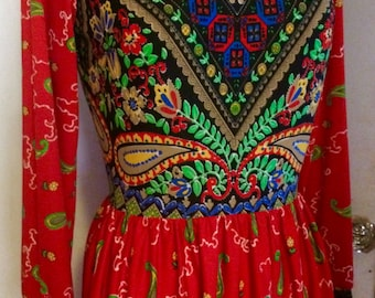 Vintage 70's Psychedelic Print Maxi Dress, Long w/ Long Sleeves, V-Neck, Boho, Hippie Size S/M