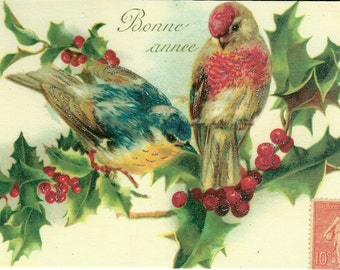 Bonne annee Postcard by Cavallini to Mail or for Framing, Book Making, Decoupage, Collage, Scrapbooking, Paper Arts & MORE PSS 2682