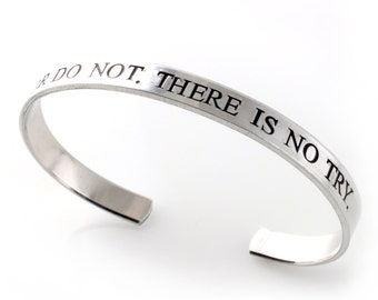 Star Wars Bracelet - Do or do not. There is no try. - Yoda Bracelet in Silver, Gold, or Rose Gold
