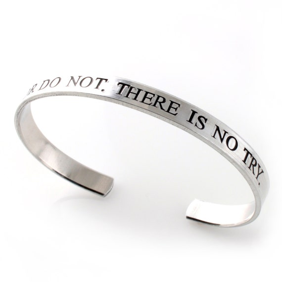 Nerdy Bracelet - Do or Do Not, There is No Try - Motivational Bracelet in Silver, Gold, or Rose Gold - Fandom Jewelry