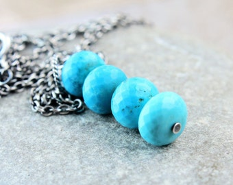 Turquoise  Necklace Oxidized Silver Column Necklace December Birthstone Handmade Jewelry Sterling Silver Gemstone Jewelry Blue Pendant