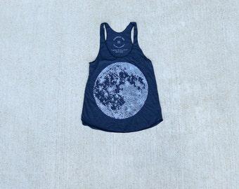MOON tank top for women. Racerback tank top tshirt. Yoga workout shirt for her. Full moon screenprint on American Apparel by Blackbird Tees
