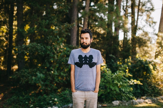 Mens t shirt - graphic tee ink blot on American Apparel gray - wolf shirt by Blackbird Tees