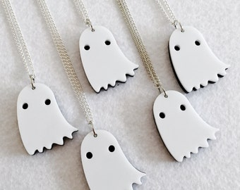 Shy Ghost Necklace - Acrylic Charm with Chain