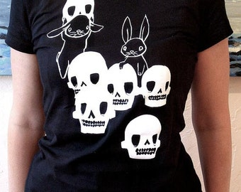Womens Fitted Tee Shirt - Black - The Skull Collectors - Skulls and Bunny Rabbits Design - Small Medium Large XL Sizes