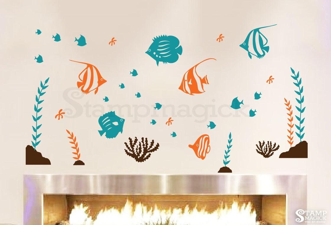 Ocean Wall Decor For Nursery : Fish wall decal sea vinyl decor nursery baby