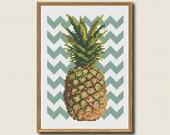 Chevron Pineapple Cross Stitch Pattern Instant Download