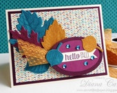 Handmade Fall Card - Hello Fall Card - Hand Stamped Fall Leaf Card - Modern Colors