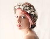 SALE - Gray and ivory flower crown, Baby's Breath wreath, Bridal flower headpiece, grey floral hair crown, Whimsical wedding head piece