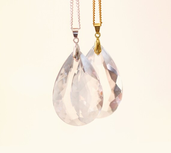 Vintage glass prism necklace, Clear chandelier teardrop pendant, bridesmaid jewelry gift, gift for her, Crystal statement, GOLD or SILVER